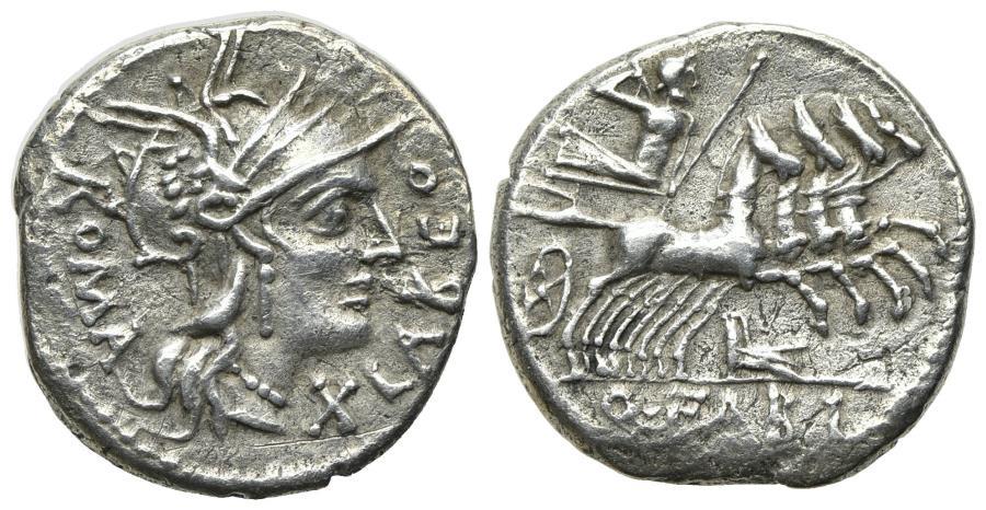 Ancient Coins - ROME REPUBLIC Q. Fabius Labeo, Rome, 124 BC. AR Denarius. R/ Jupiter driving galloping quadriga
