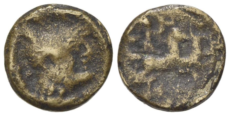 Ancient Coins - ROME REPUBLIC Anonymous AE TessaraeCopy of ARDenarius, c. 189-180 BC. Helmeted head of Roma. R/ Victory driving biga  Rare and interesting