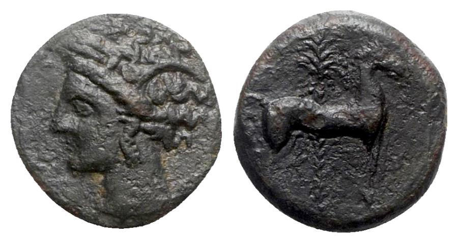 Ancient Coins - Carthage, c. 400-350 BC. Æ - Tanit head / Horse with palm tree