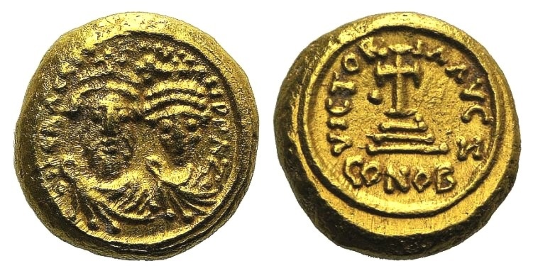 Ancient Coins - Heraclius and Heraclius Constantine (610-641). AV Solidus. Carthage, year 7 (618/9).  EXTREMELY FINE