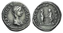 Ancient Coins - Plautilla. Augusta, AD 202-205. AR Denarius. Rome mint. Struck under Septimius Severus and Caracalla, AD 202-203. R/ CONCORDIA