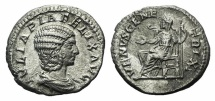 Ancient Coins - Julia Domna. Augusta, AD 193-217. AR Denarius. Rome mint. Struck under Caracalla, AD 215-217. R/ VENUS