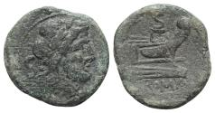 Ancient Coins - ROME REPUBLIC Anonymous, Rome, after 211 BC. Æ Semis Head of Saturn R/ Prow of galley
