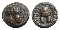 Ancient Coins - Macedon, Orthagoreia, c. 350 BC. Æ - Apollo / Helmet
