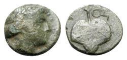 Ancient Coins - Achaemenid Empire, Uncertain, c. 4th century BC. Æ - Head of Apollo / Leaf - Unpublished