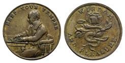 World Coins - Great Britain, XIX century. Æ Gaming Token. KEEP YOUR TEMPER, Prince Albert. R/ WISDOM AND PLEASURE, Snake entwined in rose.