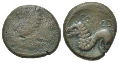 Ancient Coins - Celtic, Northeast Gaul. Remi, 2nd-1st centuries BC. Æ 17mm.  R/ Stylized lion crouching VERY RARE