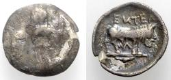 Ancient Coins - Sicily, Entella. Elymian issues, c. 440-430 BC. AR Litra