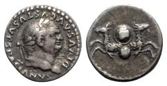 Ancient Coins - Divus Vespasian (died AD 79). AR Denarius - R/ Capricorns