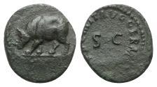 Ancient Coins - Domitian (81-96). Æ Quadrans. Rome, 84-5. R/ Rhinoceros