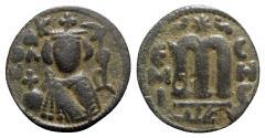 Ancient Coins - Islamic, Arab-Byzantine, Umayyad Caliphate. temp. 'Abd al-Malik ibn Marwan. Æ Fals