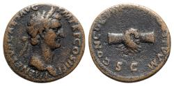 Ancient Coins - Nerva (96-98). Æ As - Rome - R/ Clasped hands
