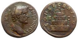 Ancient Coins - Divus Antoninus Pius (died AD 161). Æ Sestertius - Rome - R/ Pyre
