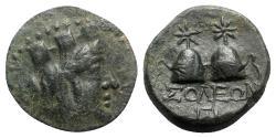 Ancient Coins - Cilicia, Soloi, c. 2nd century-66 BC. Æ - Tyche / Piloi