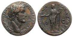 Ancient Coins - Antoninus Pius (138-161). Æ Sestertius. Rome, AD 147.  R/ FELICITAS
