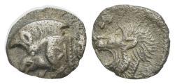 Ancient Coins - Mysia, Kyzikos, c. 450-400 BC. AR Hemiobol. Forepart of boar  R/ Head of lion