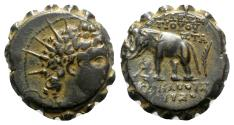 Ancient Coins - Seleukid Kings, Antiochos VI (144-141 BC). Æ Serrate