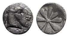 Ancient Coins - Aeolis, Kyme, 4th century BC. AR Obol - Goat head / Floral pattern