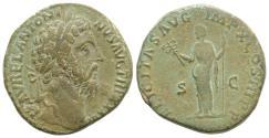 Ancient Coins - Marcus Aurelius. AD 161-180. Æ Sestertius. Rome mint. Struck AD 179. R/ FELICITAS