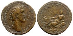 Ancient Coins - Antoninus Pius (138-161). Æ Sestertius - Rome - R/ Tiber