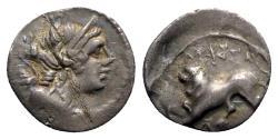 Ancient Coins - Gaul, Massalia, c. 130-121 BC. AR Drachm - Artemis / Lion
