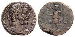 Ancient Coins - Septimius Severus (193-211). Æ Sestertius - Rome - R/ Virtus