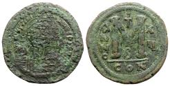 Ancient Coins - Justinian I (527-565). Æ 40 Nummi - Constantinople, year 15