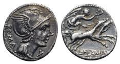 Ancient Coins - L. Flaminius Chilo, Rome, 109-108 BC. AR Denarius