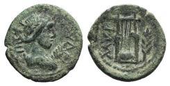 Ancient Coins - Aeolis, Myrina, 2nd century AD. Æ 15mm  R/ Lyre; palm branch