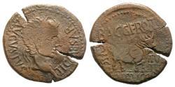 Ancient Coins - Tiberius (14-37). Spain, Celsa. Æ As (29mm, 8.63g, 3h). Bagg. Font. and Cnaeus Bucco, duoviri. R/ BULL