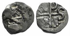 Ancient Coins - Merovingians. Massalia AR Denier. Circa AD 700-710. R/ MONOGRAM NFDS RARE
