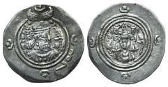 Ancient Coins - Sasanian Kings of Persia. Khusrau II (590-628). AR Drachm. AYL, year 25 (615/6).
