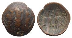 Ancient Coins - Alexius and John Asen (c. AD 1356). Æ Trachy - Theotokos / Alexius and John standing facing - VERY RARE