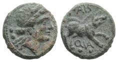 Ancient Coins - ITALY. LUCANIA, Paestum (Poseidonia). Second Punic War. 218-201 BC. Æ Sextans  R/ BOAR