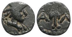 Ancient Coins - Gaul, Massalia, c. 1st century BC. Æ 12.5mm Head of Minerva r. R/ Caduceus RARE
