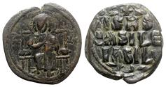 Ancient Coins - Anonymous, time of Constantine IX (1042-1055). Æ 40 Nummi - Constantinople