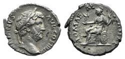 Ancient Coins - Hadrian (117-138). AR Denarius. Rome, 119-125. R/ Roma seated