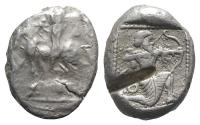 Ancient Coins - Cilicia, Tarsos, c. 425-400 BC. AR Stater. Satrap on horseback R/ Archer