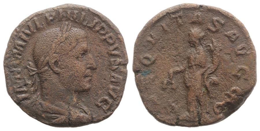 Ancient Coins - Philip I (244-249). Æ Sestertius. Rome, AD 246. R/ AEQUITAS