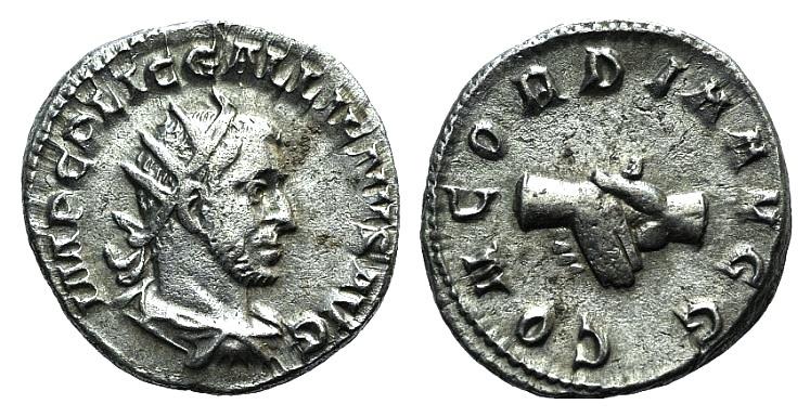 Ancient Coins - Gallienus. 253-268 AD. AR Antoninianus. Struck 253-254 AD. R/ CONCORDIA AVGG, Clasped hands