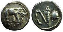 Ancient Coins - EXCEPTIONAL Julius Caesar. 49-48 BC. AR Denarius. Military mint traveling with Caesar. Elephant