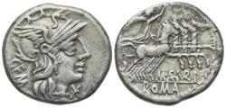 Ancient Coins - ROME REPUBLIC M. Aburius M.f. Geminus, Rome, 132 BC. AR Denarius. R/ Sol driving quadriga