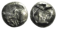 Ancient Coins - Ionia, Uncertain, c. 5th century BC. AR Tetartemorion. Head and neck of bull UNPUBLIDHED