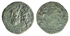 Ancient Coins - Sicily, Uncertain Roman mint, 2nd-1st century BC. Æ 21mm. Laureate and bearded head of Janus
