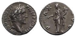 Ancient Coins - Antoninus Pius (138-161). AR Denarius - Rome - R/ Pax