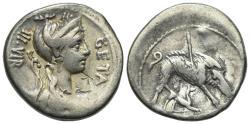 Ancient Coins - ROME REPUBLIC C. Hosidius C.f. Geta, Rome, 64 BC. AR Denarius. Bust of Diana R/ Calydonian Boar