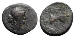 Ancient Coins - Lydia, Thyatira. 2nd century BC. Æ - Apollo / Labrys