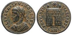Ancient Coins - Crispus (Caesar, 316-326). Æ Follis (17mm, 2.94g, 12h). Nicomedia, 324-5.