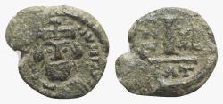 Ancient Coins - Heraclius (610-641). Æ 10 Nummi. Catania, year 13 (622/3).