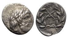 Ancient Coins - Achaia, Achaian League. Tegea, early 1st century BC. AR Triobol – Hemidrachm
